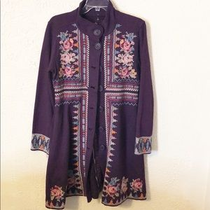 Johnny was floral embroidered jacket sz S